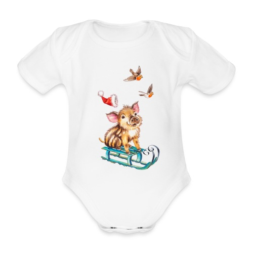 biggetje op slee - Organic Short-sleeved Baby Bodysuit
