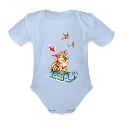 biggetje op slee - Baby bio-rompertje met korte mouwen