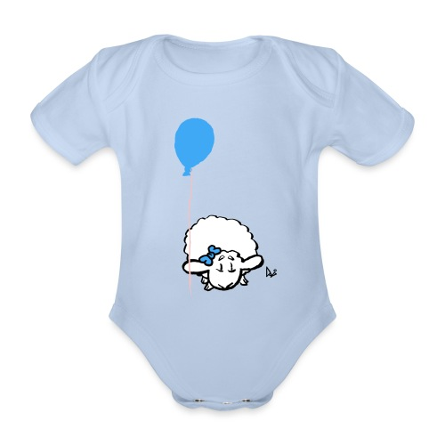 Baby Lamb with balloon (blue) - Baby bio-rompertje met korte mouwen