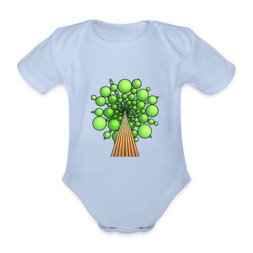 Kugel-Baum, 3d, hellgrün - Baby Bio-Kurzarm-Body