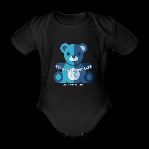 Rocks Teddy Bear - Blue - Baby bio-rompertje met korte mouwen