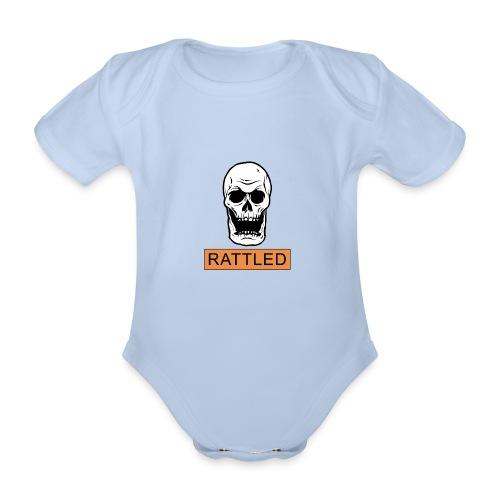 Rattled Spooky Halloween Skeleton Meme - Organic Short-sleeved Baby Bodysuit
