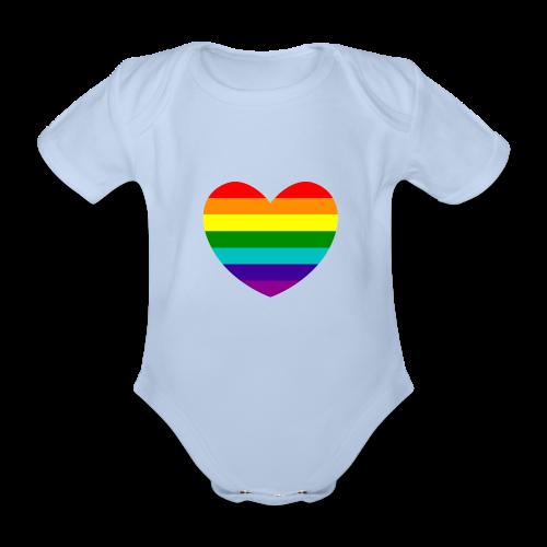 Hart in regenboog kleuren - Baby bio-rompertje met korte mouwen