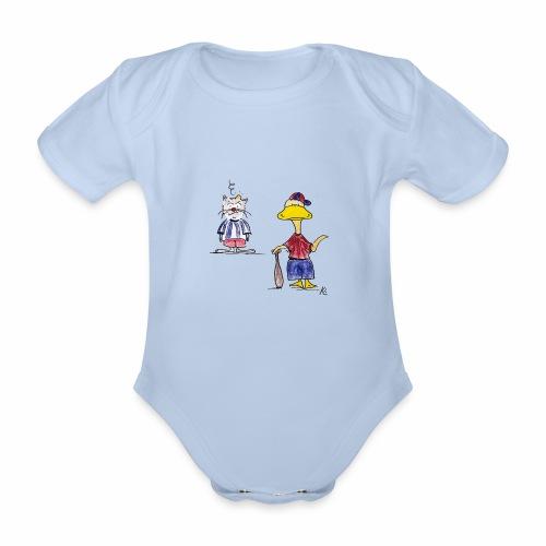 Cartoon Baseball - Baby Bio-Kurzarm-Body