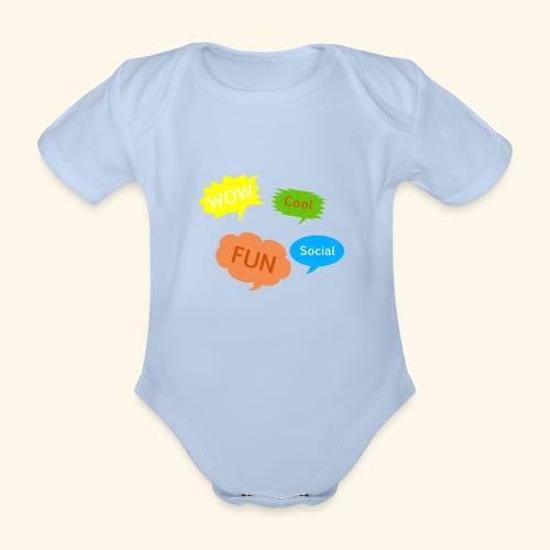 Sprechblasen Wow Cool Fun Social - Baby Bio-Kurzarm-Body