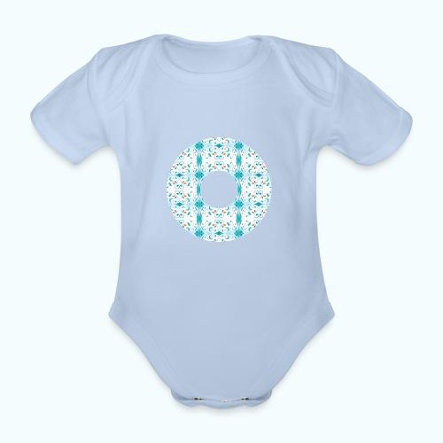 Hippie flowers donut - Organic Short-sleeved Baby Bodysuit