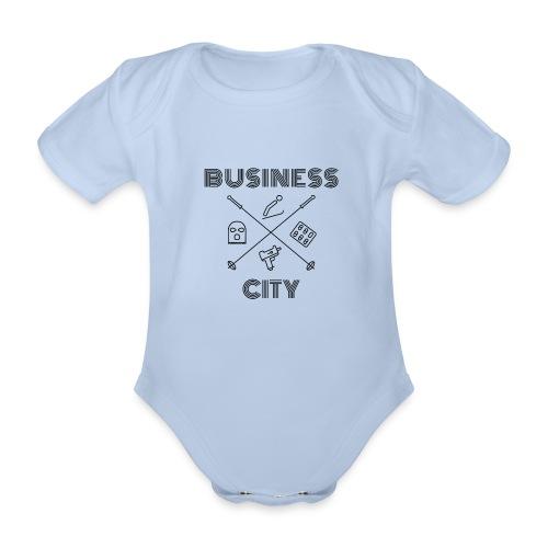 Business City - musta painatus - Vauvan lyhythihainen luomu-body