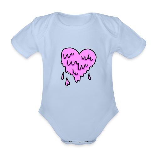Corazón - Body orgánico de maga corta para bebé