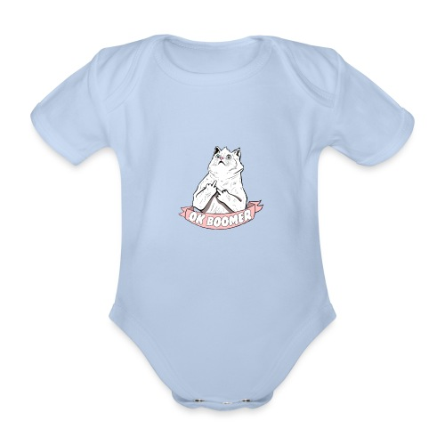 OK Boomer Cat Meme - Organic Short-sleeved Baby Bodysuit