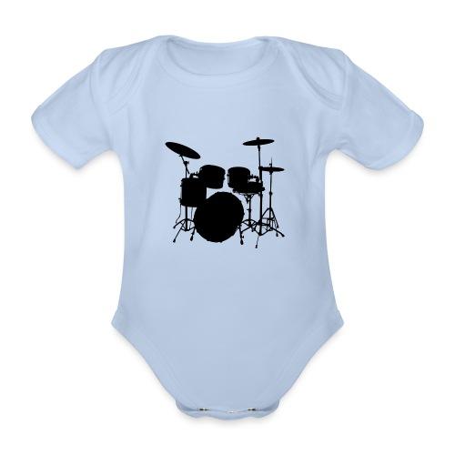 Drums in black - Body orgánico de manga corta para bebé