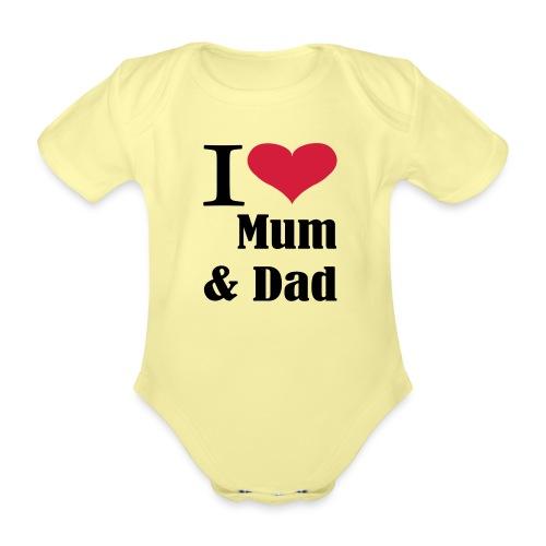 i love mum dad - Baby bio-rompertje met korte mouwen