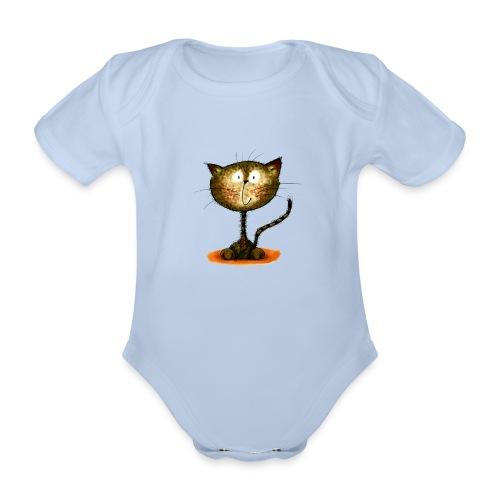 Katz, farbig - Baby Bio-Kurzarm-Body