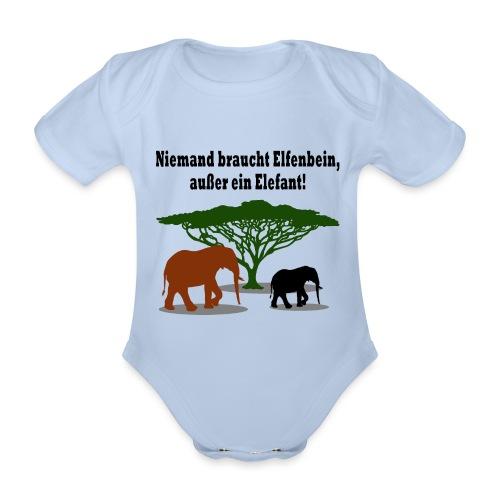 Niemand braucht Elfenbein, außer ein Elefant! - Baby Bio-Kurzarm-Body