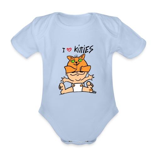 baby i love kitties color - Baby bio-rompertje met korte mouwen