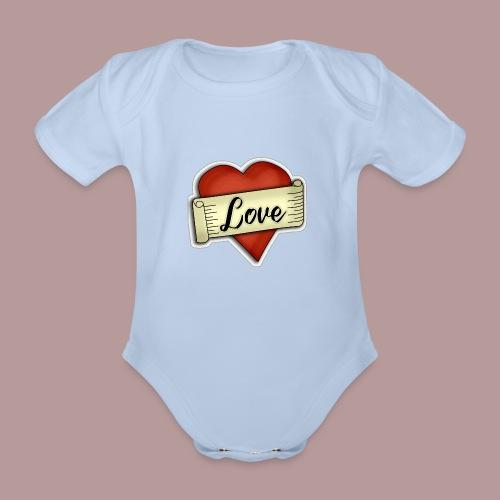 Love cœur tatouage - Body Bébé bio manches courtes