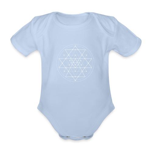 Valkoinen geometrinen Shri Yantra -kuvio - Vauvan lyhythihainen luomu-body