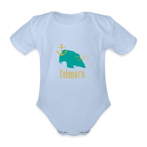 Fehmarn türkis gold Anker Boot - Baby Bio-Kurzarm-Body