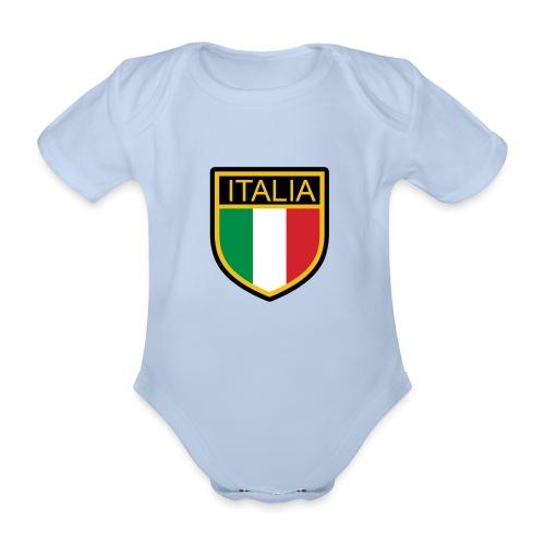 SCUDETTO ITALIA CALCIO - Body ecologico per neonato a manica corta