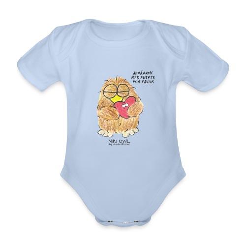 Niki Owl Abrázame Más Fuerte Por Favor - Organic Short-sleeved Baby Bodysuit