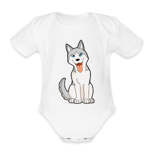 Husky grigio occhi azzurri - Body ecologico per neonato a manica corta