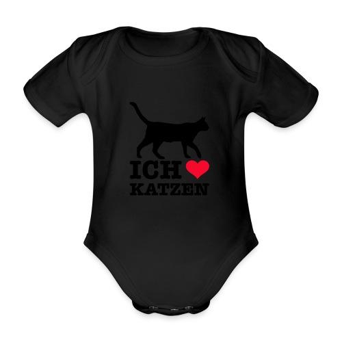 Ich liebe Katzen mit Katzen-Silhouette - Baby Bio-Kurzarm-Body