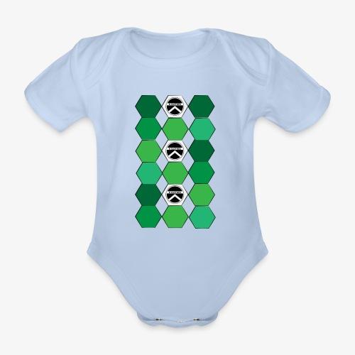 |K·CLOTHES| HEXAGON ESSENCE GREENS & WHITE - Body orgánico de manga corta para bebé
