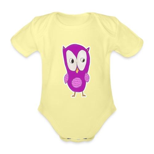 Astrids ugle - Kortærmet babybody, økologisk bomuld