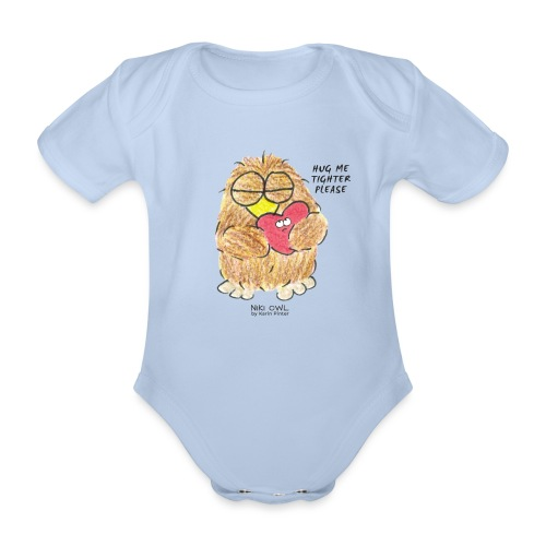 Niki Owl Hug Me Tighter - Organic Short-sleeved Baby Bodysuit