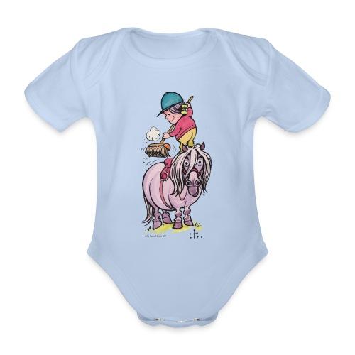 Thelwell Reiter Striegelt Pferd Mit Besen - Baby Bio-Kurzarm-Body