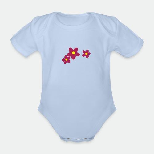 Three Flowers - Organic Short-sleeved Baby Bodysuit