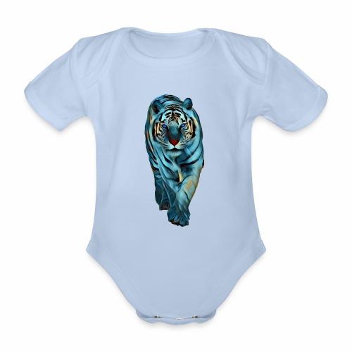 Tigre Caminando MEDIANO - Body orgánico de maga corta para bebé
