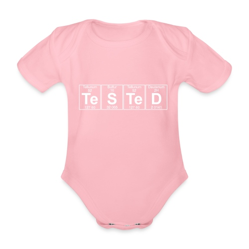 Te-S-Te-D (tested) (small) - Organic Short-sleeved Baby Bodysuit