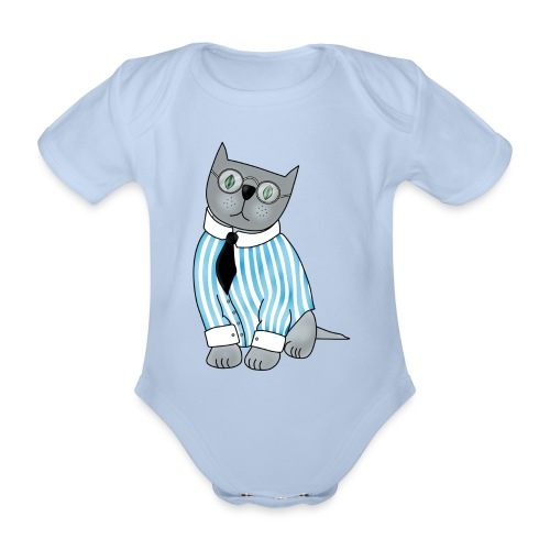 Cat with glasses - Organic Short-sleeved Baby Bodysuit