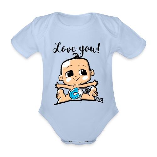 baby boy color - Baby bio-rompertje met korte mouwen