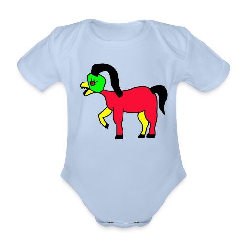 Vogel Pferd Verrückt - Baby Bio-Kurzarm-Body