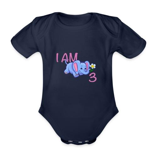 I am 3 - elephant pink - Organic Short-sleeved Baby Bodysuit