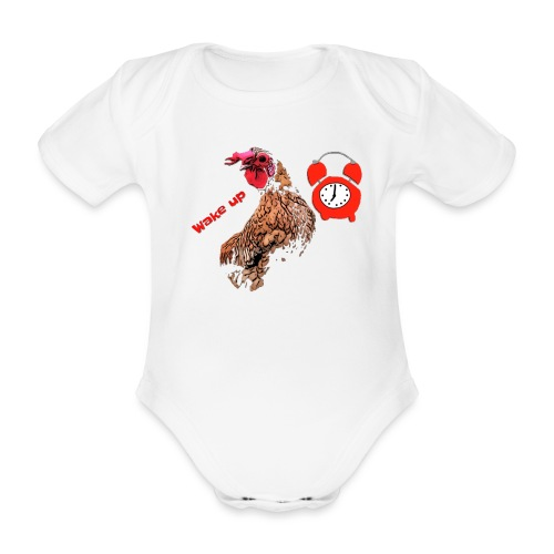 Wake up, the cock crows - Organic Short-sleeved Baby Bodysuit