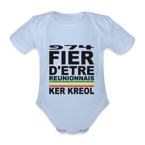 974 Fier d'être Réunionnais - 974 Ker Kreol v1.2 - Body Bébé bio manches courtes