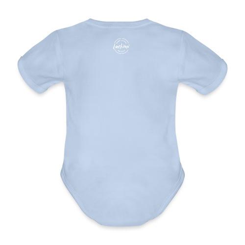 Luckimi logo circle small white back - Kids - Organic Short-sleeved Baby Bodysuit