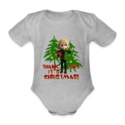 Weihnachtself Thank God it´s Christmas! - Baby Bio-Kurzarm-Body