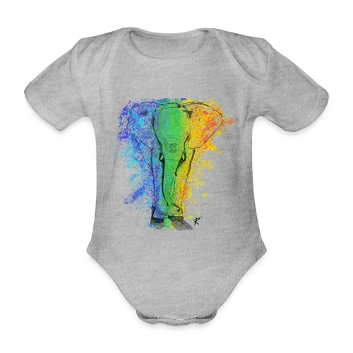 Elefante sketch color - Body ecologico per neonato a manica corta