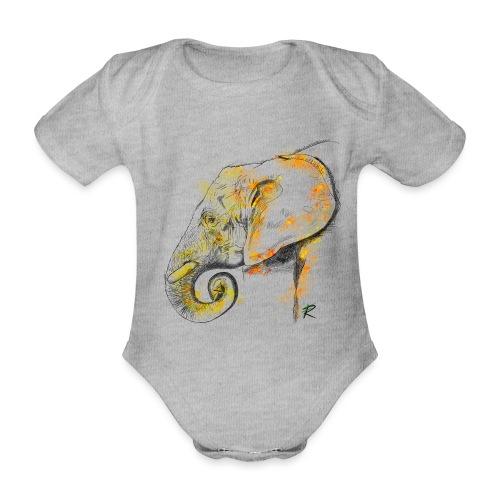 Elephant 2 color - Body ecologico per neonato a manica corta