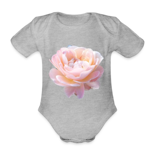 A pink flower - Organic Short-sleeved Baby Bodysuit