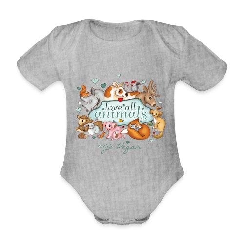 love all animals - go vegan - Organic Short-sleeved Baby Bodysuit