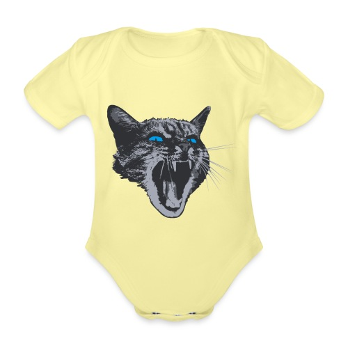 Really angry kitty cat - Organic Short-sleeved Baby Bodysuit