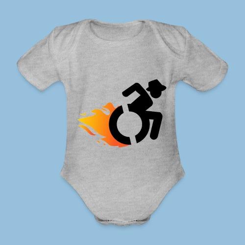 Roller met vlammen 016 - Baby bio-rompertje met korte mouwen