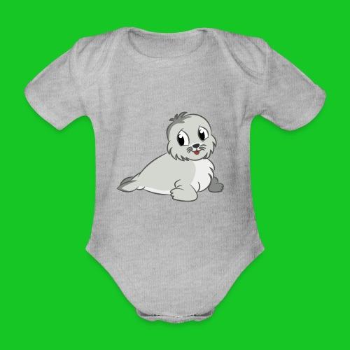Zeehondje - Baby bio-rompertje met korte mouwen