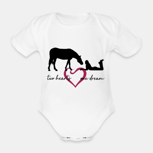 two hearts one dream liegendes Mädchen Pferd - Baby Bio-Kurzarm-Body