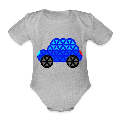 The Car Of Life - M01, Sacred Shapes, Blue/R01. - Organic Short-sleeved Baby Bodysuit