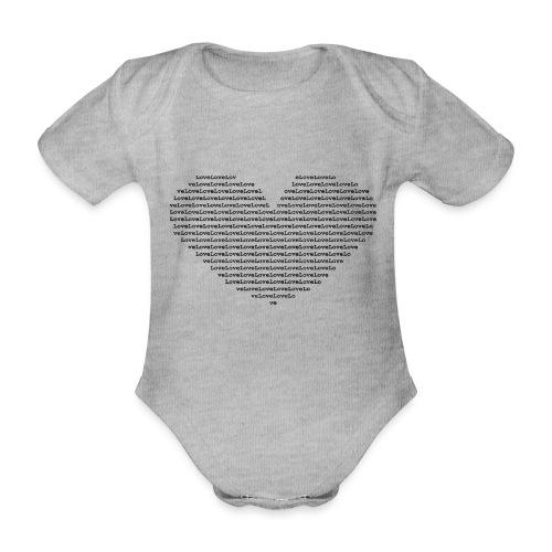 Isle of black Ascii Heart - Organic Short-sleeved Baby Bodysuit
